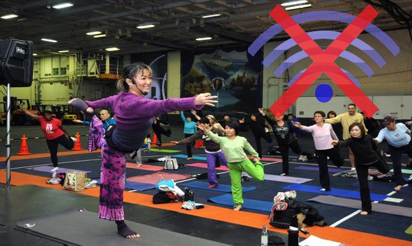 Práctica de yoga con wifi conectado