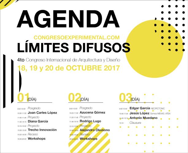 Agenda 4 Congreso Internacional de Arquitectura y Diseño de Querétaro, del 18 al 21 de Octubre 2017, por Joan Carles López