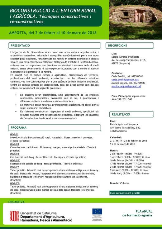 CURS DE BIOCONSTRUCCIÓ A L'ENTORN RURAL I AGRÍCOLA. TÈCNIQUES CONSTRUCTIVES I RE-CONSTRUCTIVES.