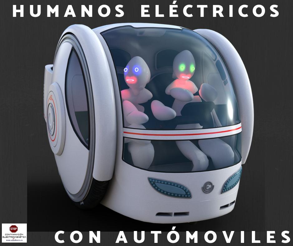 HUMANOS CON COCHES ELECTRICOS EN EL FUTURO