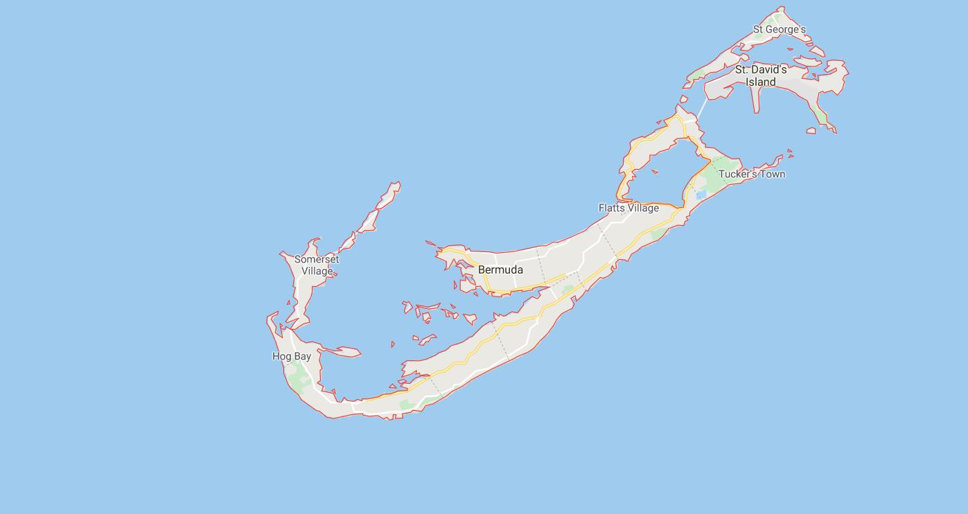 Mapa de la Isla Bermuda en el Atlántico